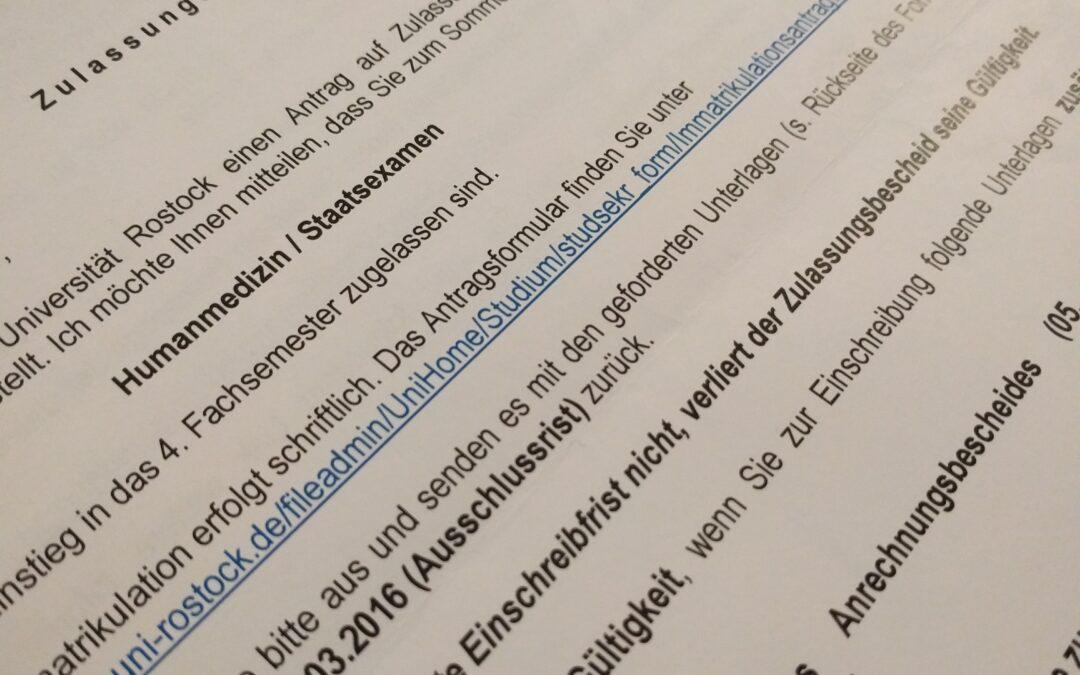 Wann kommen Zulassungen/Absagen für Bewerbungen für höhere Semester in Medizin?